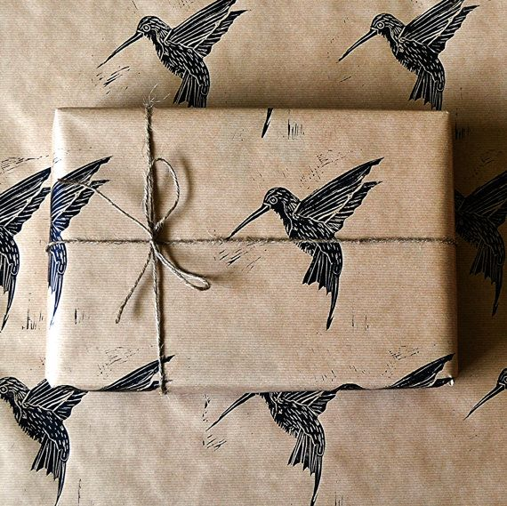 hand made printed bird wrapping paper