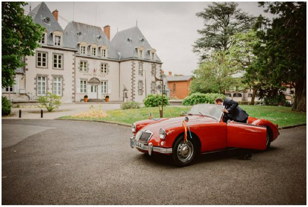 red classic wedding car