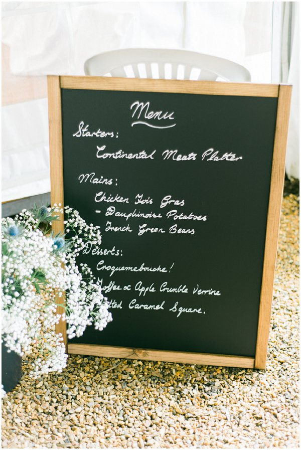 wedding menu sign