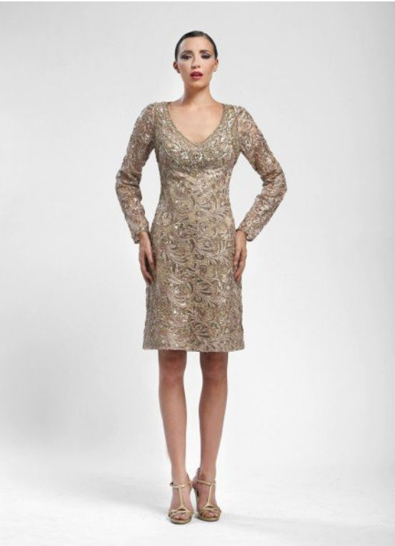 Beaded Soutache Long Sleeve Sheath Dress in Beige by Sue Wong