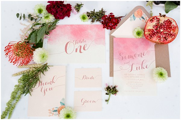 rich color wedding stationery