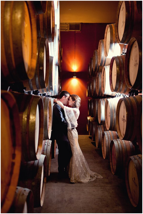 vineyard wedding in barrel cellar