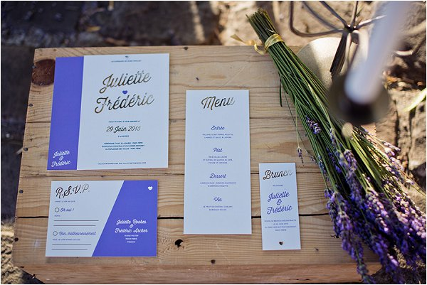 lavender wedding stationery