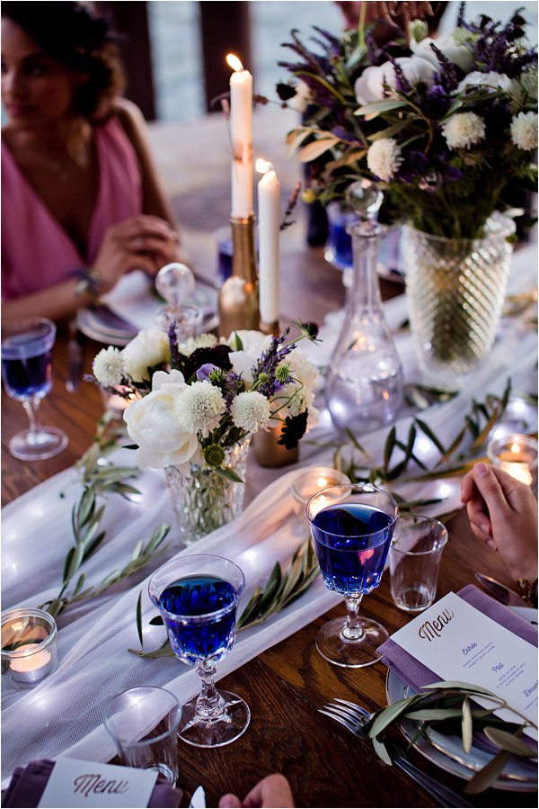 lavender wedding table styling