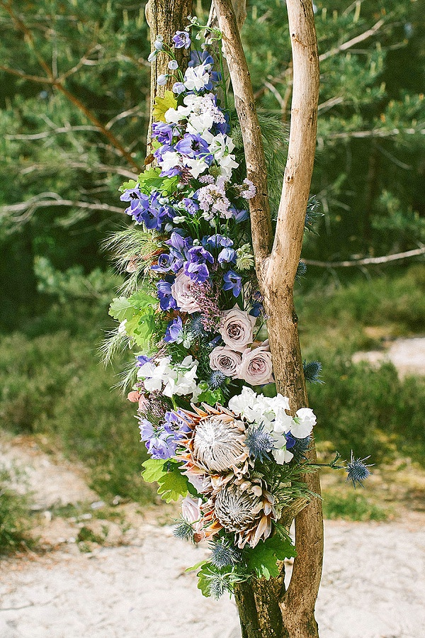Blue and lilac wedding blooms