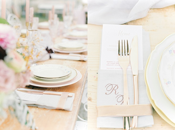 Blush and copper place settings