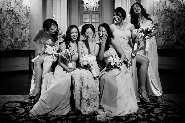 Giggling with the bridesmaids