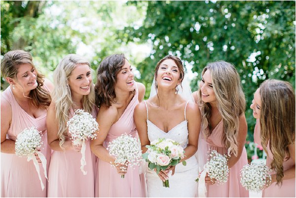 Real life Bride with pretty in pink Bridesmaids