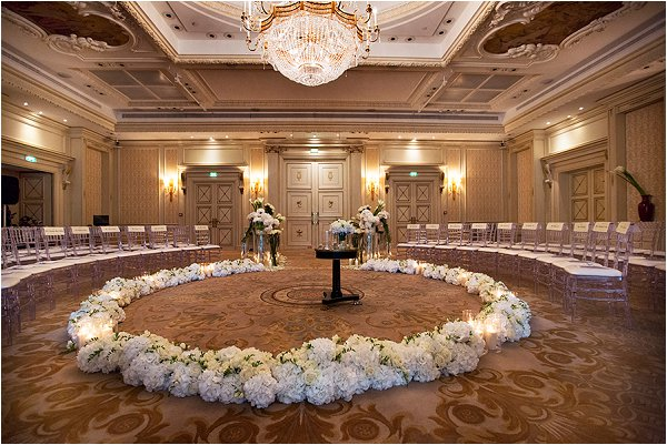 White Hydrangers form a circle of love at Shangri-La Hotel Paris