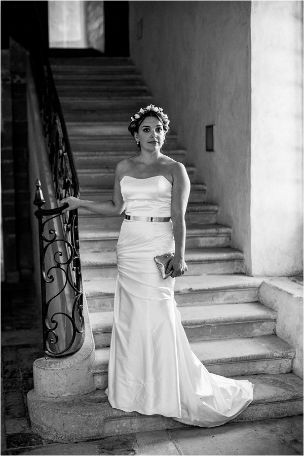 fitted wedding dress with gold belt