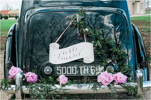 just married calligraphy car