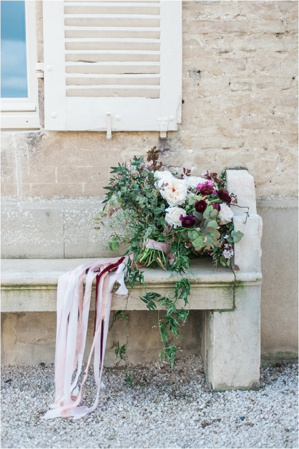 wedding bouquets with rich burgundy accents