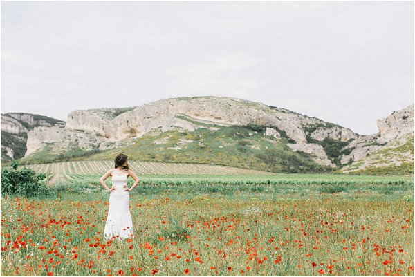 Bride in a gorgeous poppy meadow in Provence