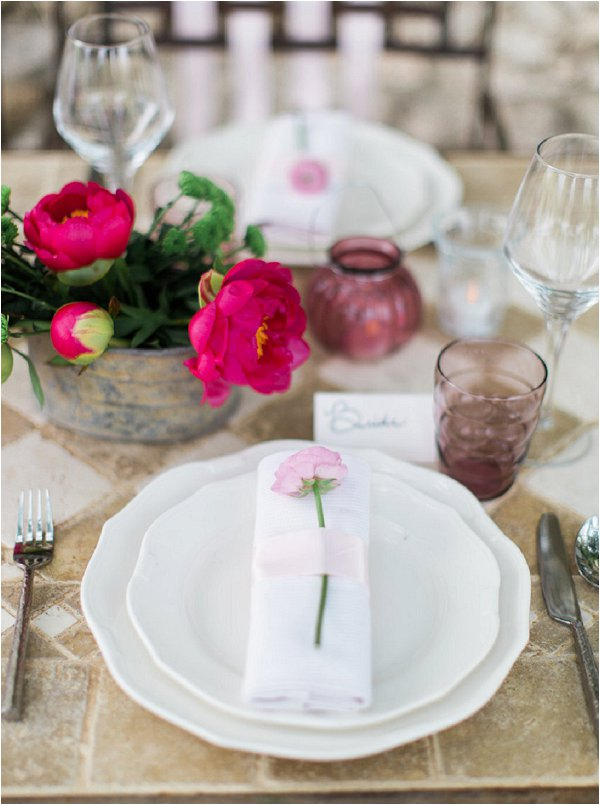 Delicate pink place settings for Provence Wedding inspiration