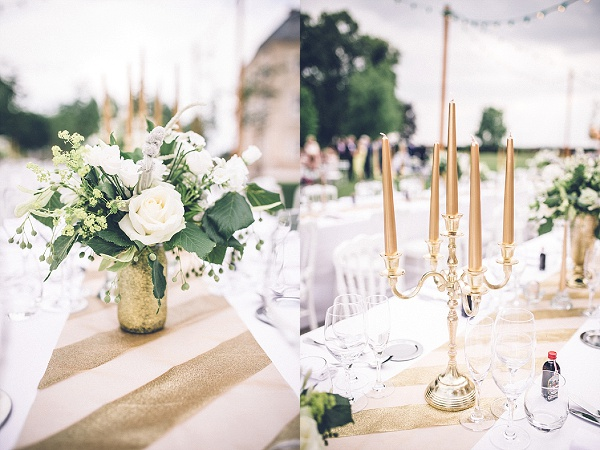 Gold, white and green wedding theme