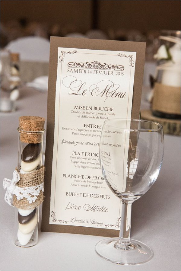 Neutral menu and favours at stylish French winter wedding