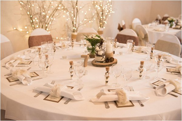 Neutral table decor at French winter wedding