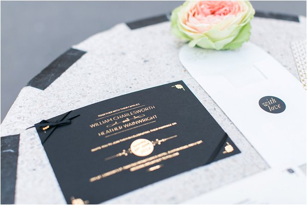 black gold white wedding invites