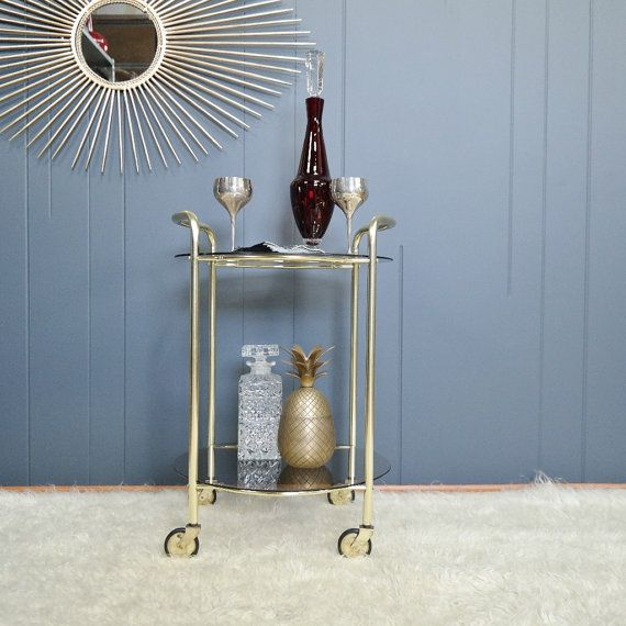70's petite bar cart or side Table