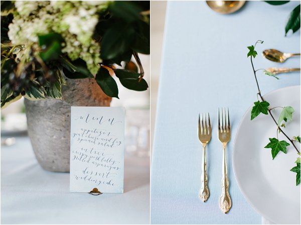 gold and blue wedding details