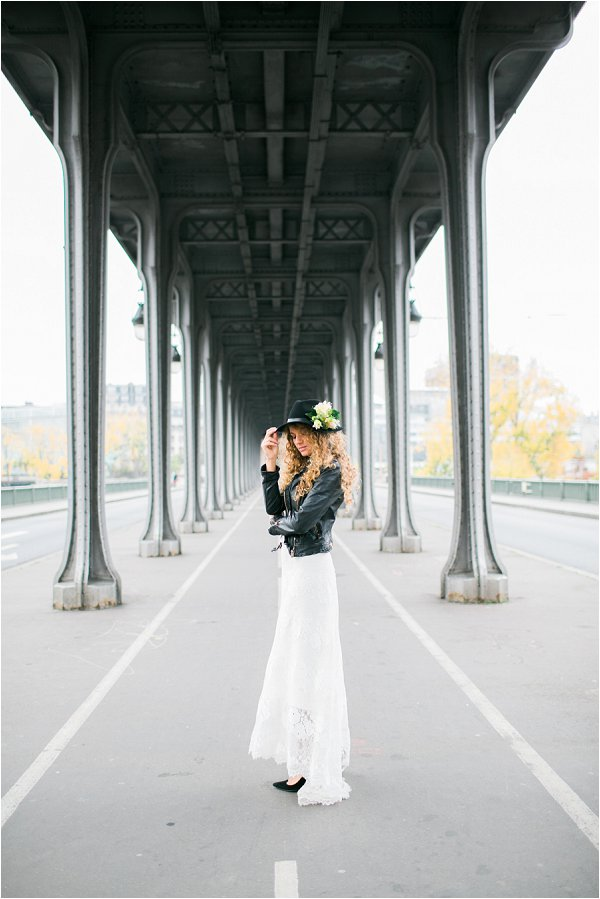 rock chick bride in Paris
