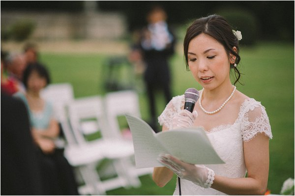 Chic Bride reading her wedding vows