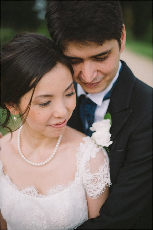 Close up of the newlyweds in destination french wedding