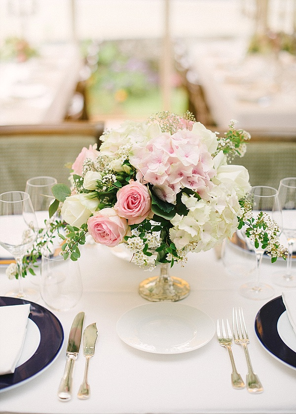 Hydrangea wedding centerpiece