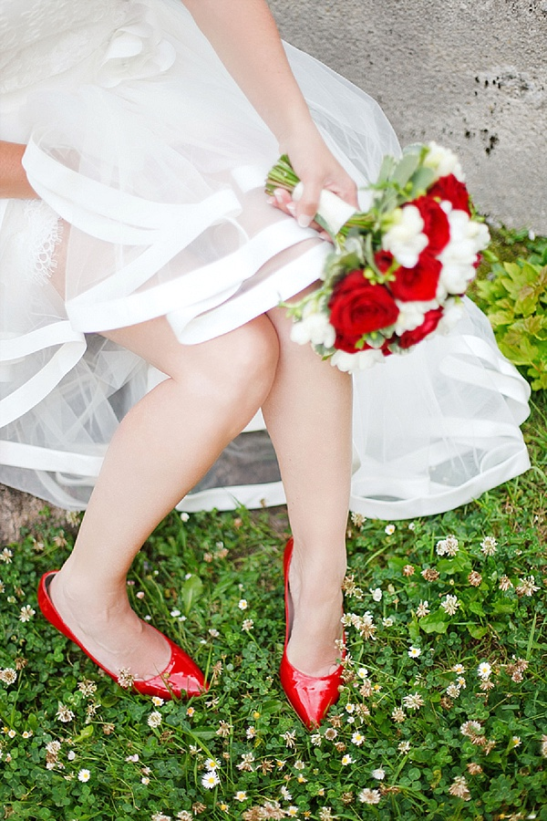 Pretty red wedding shoes