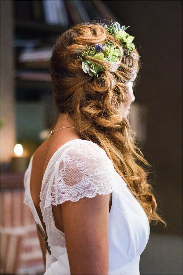 bridal braid with fresh flowers