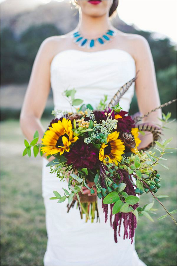 dramatic bouquet with feathers - Sarah Kathleen Photography