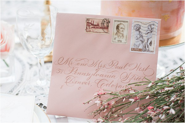 peach calligraphy wedding letter