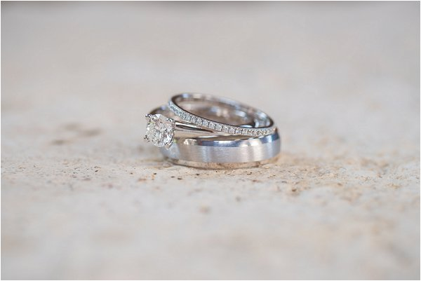 platinum engagement ring and band