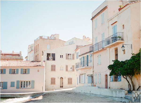 soft peach buildings in St Tropez France