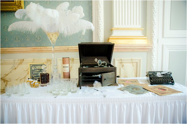whiskey and brandy wedding table