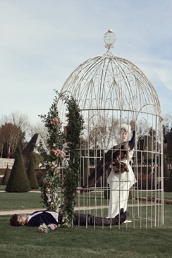 Antique french garden wedding arbor