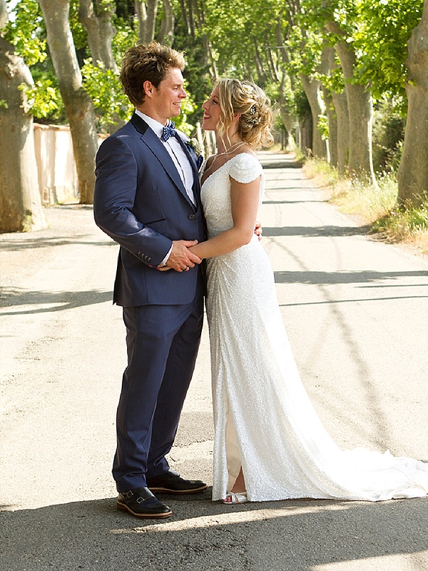 Beautiful sequin wedding gown with updo