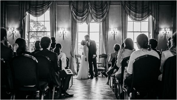 First kiss in French Style Wedding