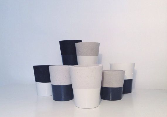Monochrome colour dipped small cement pots