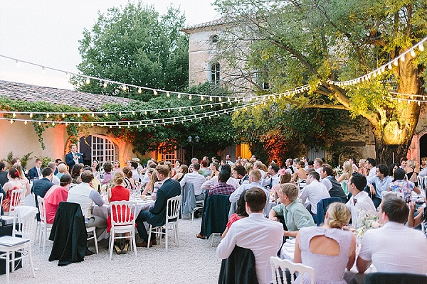 Outdoor evening reception festoon lighting
