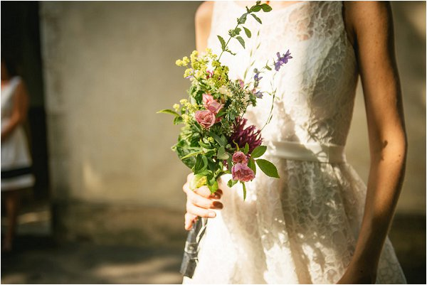 Simple fresh local flowers for Mairie wedding ceremony
