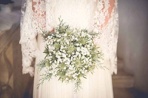 Simple green and white wedding bouquet
