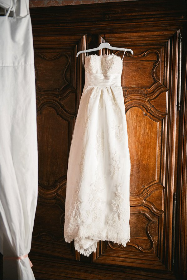 Strapless La Sposa wedding dress waiting for the bride