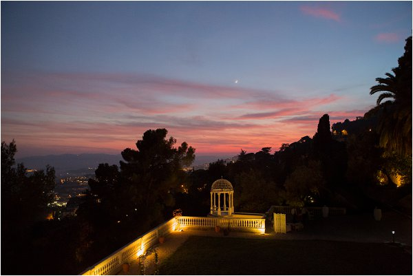 Stunning pink sunset from Chateau Saint Georges in Grasse France