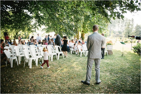 The groom awaits his bride in outdoor Auvergne wedding