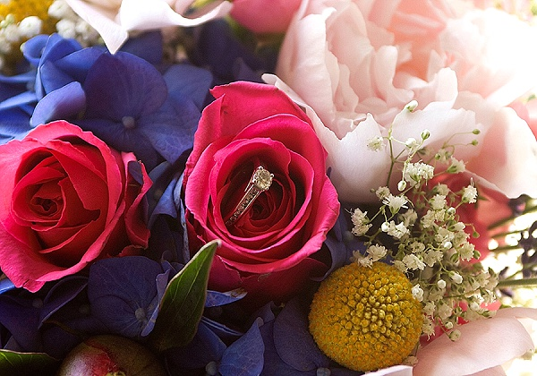 colorful blooming wedding bouquet