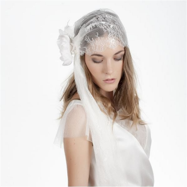 lace bridal juliet cap
