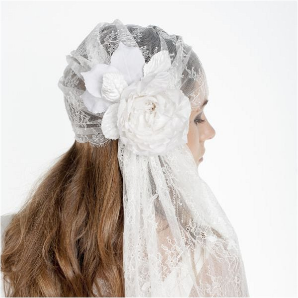 so pretty lace and flower juliet bridal cap