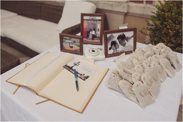 wedding guest book and favours