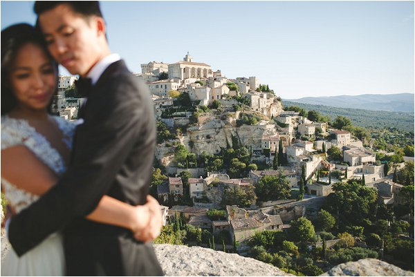 Bride, Groom and a stunning Provence village view